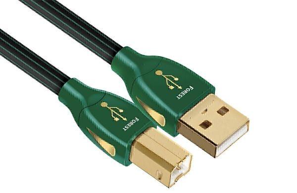 AudioQuest Forest USB-A - USB-B, 0.75m, с боковыми золотыми вставками, Компьютерный кабель USB тип A-B