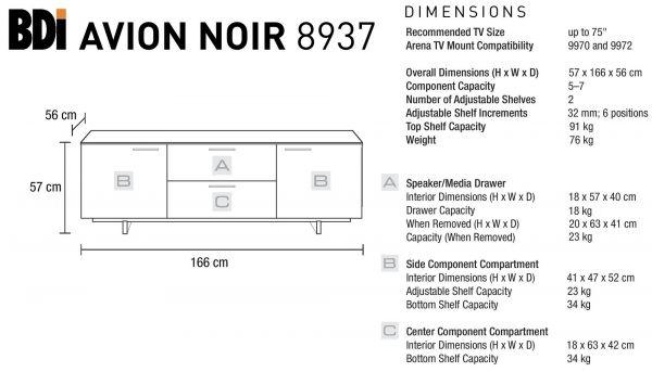 BDI Avion 8937 Noir Тумба 3-секционная
