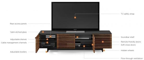 BDI Corridor 8173 Chocolate Stained Walnut, 4-секционная тумба под TV